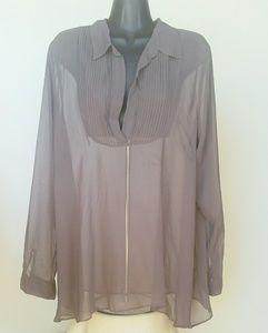Free People Grey Sheer Womens Button Down LS Shirt